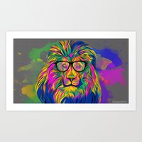 hipster lion Art Prints featuring Hipster Lion by ZeebraPrint