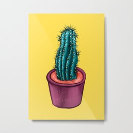 Funny Cactus In Alien Soup Pot Trippy Colorful Metal Print
