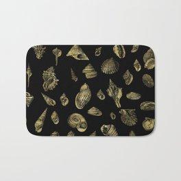 Sea shells pattern gold on black 1 Bath Mat