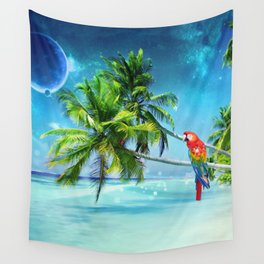 Parrot in the beach Wall Tapestry