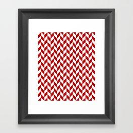 Red and White Herringbone Pattern Framed Art Print