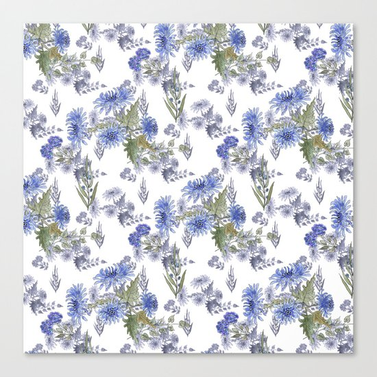 Watercolor floral pattern . 12 Canvas Print