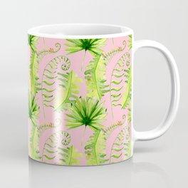 Pastel pink green hand painted tropical leaves pattern Coffee Mug
