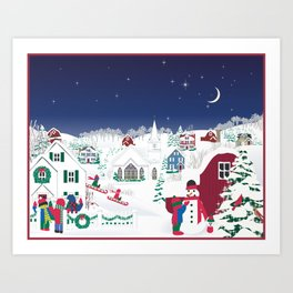 Christmas carolers in the country Art Print