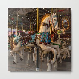 Carousel Horses Ready To Ride Metal Print