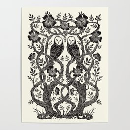 Rose Owls Poster