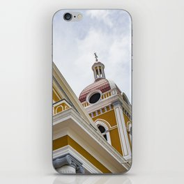Looking up at the Exterior of the Yellow Granada Cathedral in Downtown Granada, Nicaragua iPhone Skin