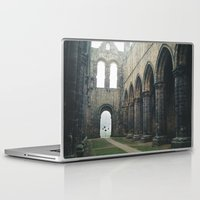 downton abbey Laptop & iPad Skins featuring Gloomy Abbey by For the easily distracted...
