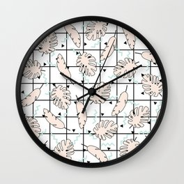 Funky Fresh Tropical Graphic 80's Memphis Grid Design Wall Clock
