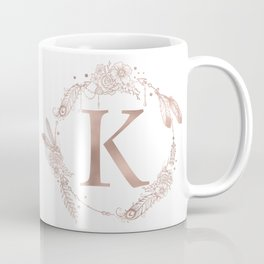 Letter K Rose Gold Pink Initial Monogram Coffee Mug