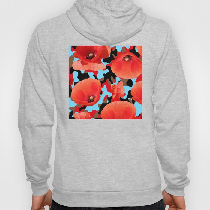 Poppie Camouflage Red Blue Hoody