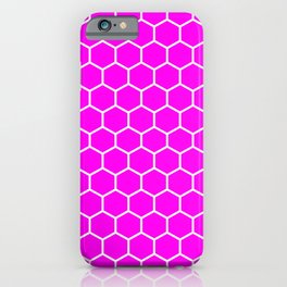 Honeycomb (White & Magenta Pattern) iPhone Case