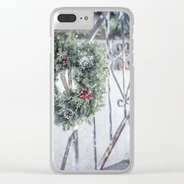 Rustic Christmas Wreath Clear iPhone Case