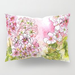 Pink Geraniums Watercolor Painting Pillow Sham