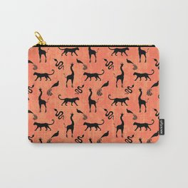 Animal kingdom. Black silhouettes of wild animals. African giraffes, leopards, cheetahs. snakes, exotic tropical birds. Tribal primitive ethnic nature coral red grunge distressed pattern. Carry-All Pouch