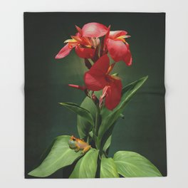 Canna Lily and Hourglass Tree Frog Throw Blanket