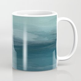 Seafoam Green Mint Navy Blue Abstract Ocean Art Painting Coffee Mug