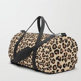 Leopard Print, Black, Brown, Rust and Tan Duffle Bag