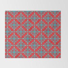 Fleur de Lis - Red & Turquoise Throw Blanket