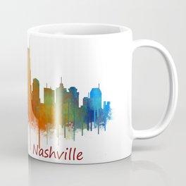 nashville city skyline Tennessee watercolor v2 Coffee Mug