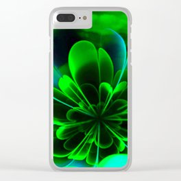 Abstract Green Flower Clear iPhone Case