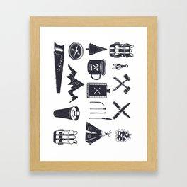 Bushcraft Icons and Hiking Symbols Framed Art Print
