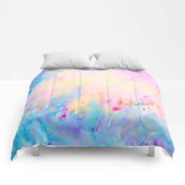 Watercolor Abstract Landscape Blue and Purple Comforters