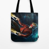 star lord Tote Bags featuring Star Lord saves Gamora by Jaime Gervais