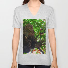 big tree with green leaves and red leaves Unisex V-Neck