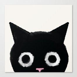Spooked Kitty Black Creepy & Cute Cat Canvas Print