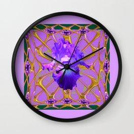 Jeweled Amethyst Gems Golden Web Iris Art. Wall Clock
