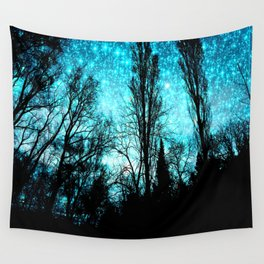 black trees turquoise teal space Wall Tapestry