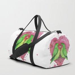 Peach faced lovebirds in love Duffle Bag