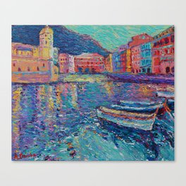 Sunset in Port of Vernazza - modern palette knife sea landscape of Italy by Adriana Dziuba Canvas Print