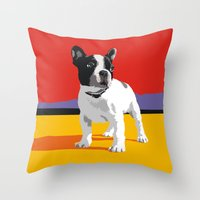 boston terrier Throw Pillows featuring Boston terrier by Matt Mawson