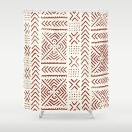 Line Mud Cloth // Ivory & Burgundy Shower Curtain