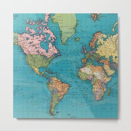 Vintage Map of The World (1897) Metal Print