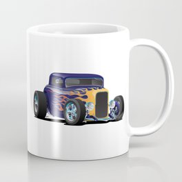 Vintage Hot Rod Car with Classic Flames Coffee Mug