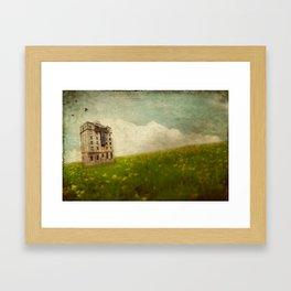 Building in a field Framed Art Print