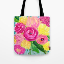 Bouquet of Flowers, Pink and Yellow Flowers, Painting Flowers in Vase Tote Bag