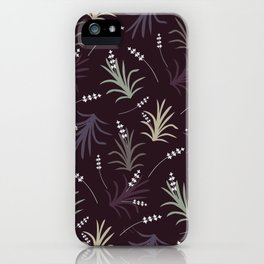 Flowering Grass in Plums and Greens iPhone Case