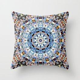 Blue Brown Folklore Texture Mandala Throw Pillow