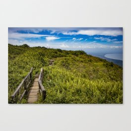 Beautiful Wooden Bridge Leading up to a Lake View on top of Mombacho Volcano, Nicaragua Canvas Print