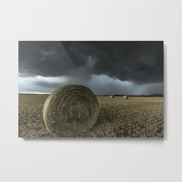 Fade Away - Round Hay Bales in Storm in Oklahoma Metal Print