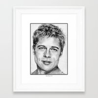 brad pitt Framed Art Prints featuring Brad Pitt in 2006 by JMcCombie