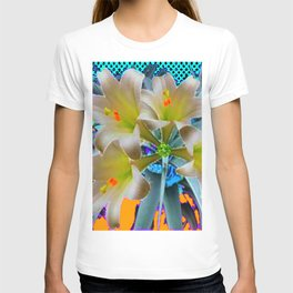 EASTER LILIES FLOWER  BLUE-GOLD FLORAL T-shirt