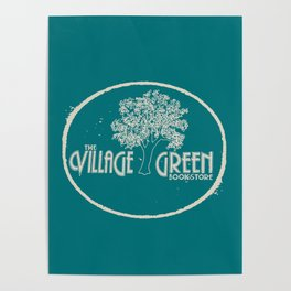 Village Green Bookstore Tan on Green Poster