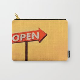 Open neon old sign in route 66 at sunset Carry-All Pouch