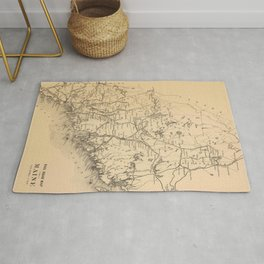 Vintage Map of Maine (1894) Rug