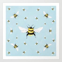 Bees Illustration // Blue Background Art Print